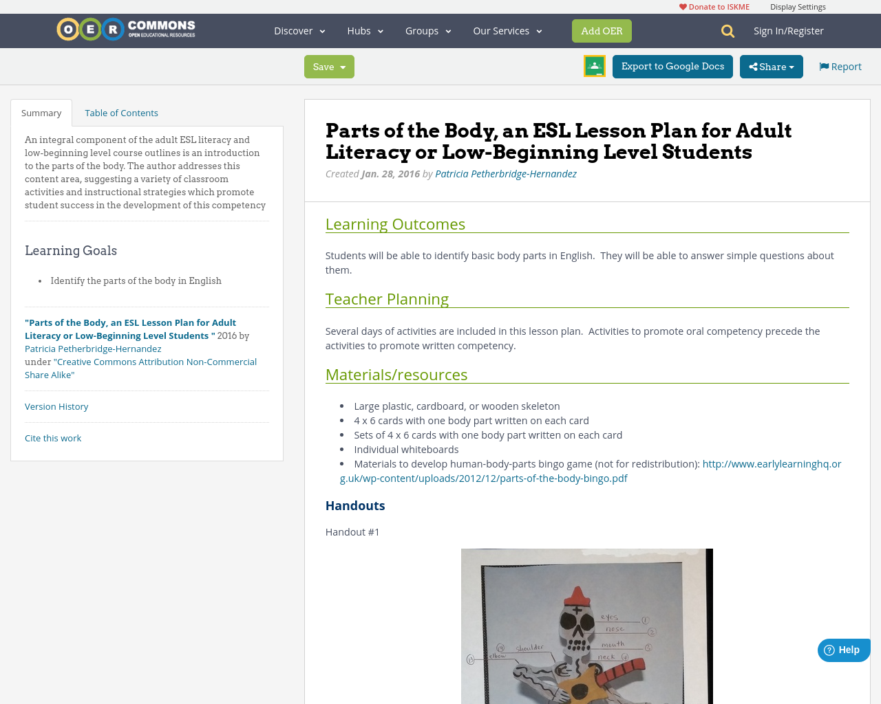 Parts Of The Body An Esl Lesson Plan For Adult Literacy Or Low
