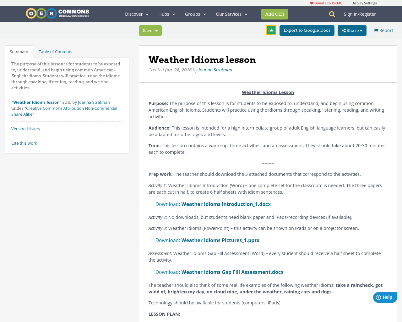 Weather Idioms Lesson Oer Commons